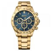 Hugo Boss Ikon Chronograph Men's Watch | Tachymeter Blue Dial | Gold Strap | HB1513340