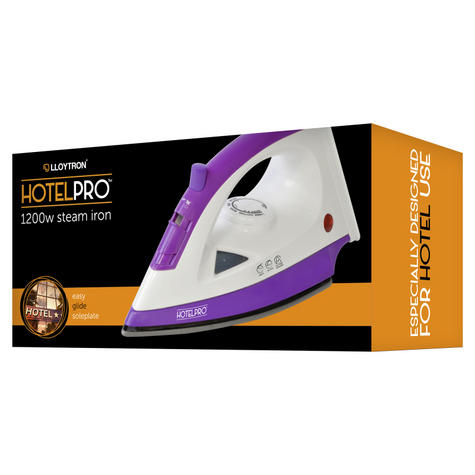 Lloytron 1200w Steam Iron For Especially Hotel Use | Steam-Dry Option | Purple | E7308 Thumbnail 3