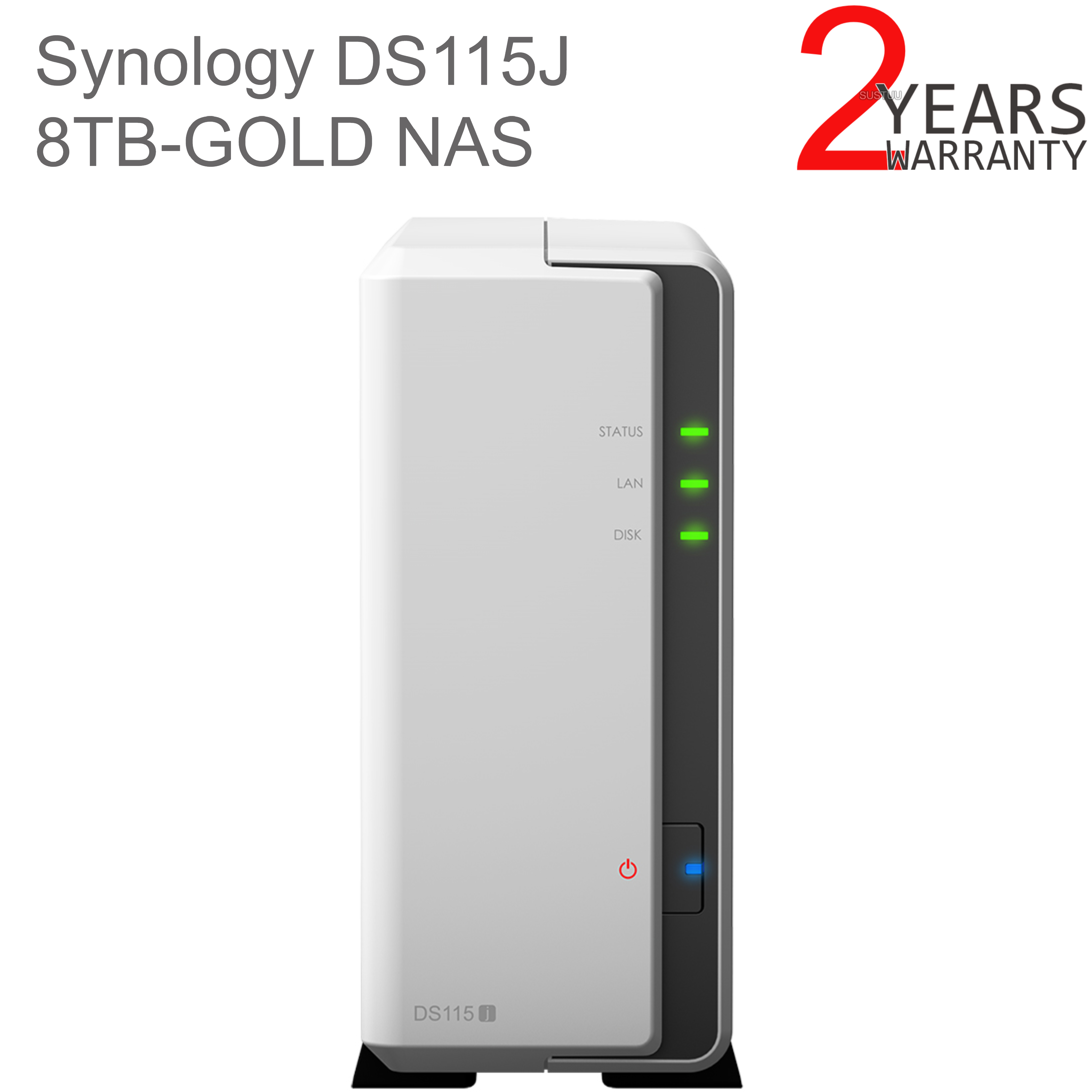 Synology DiskStation DS115J 8TB (1 x 8TB WD GOLD) 1 Bay Desktop NAS Unit |  Storage | For Home Users