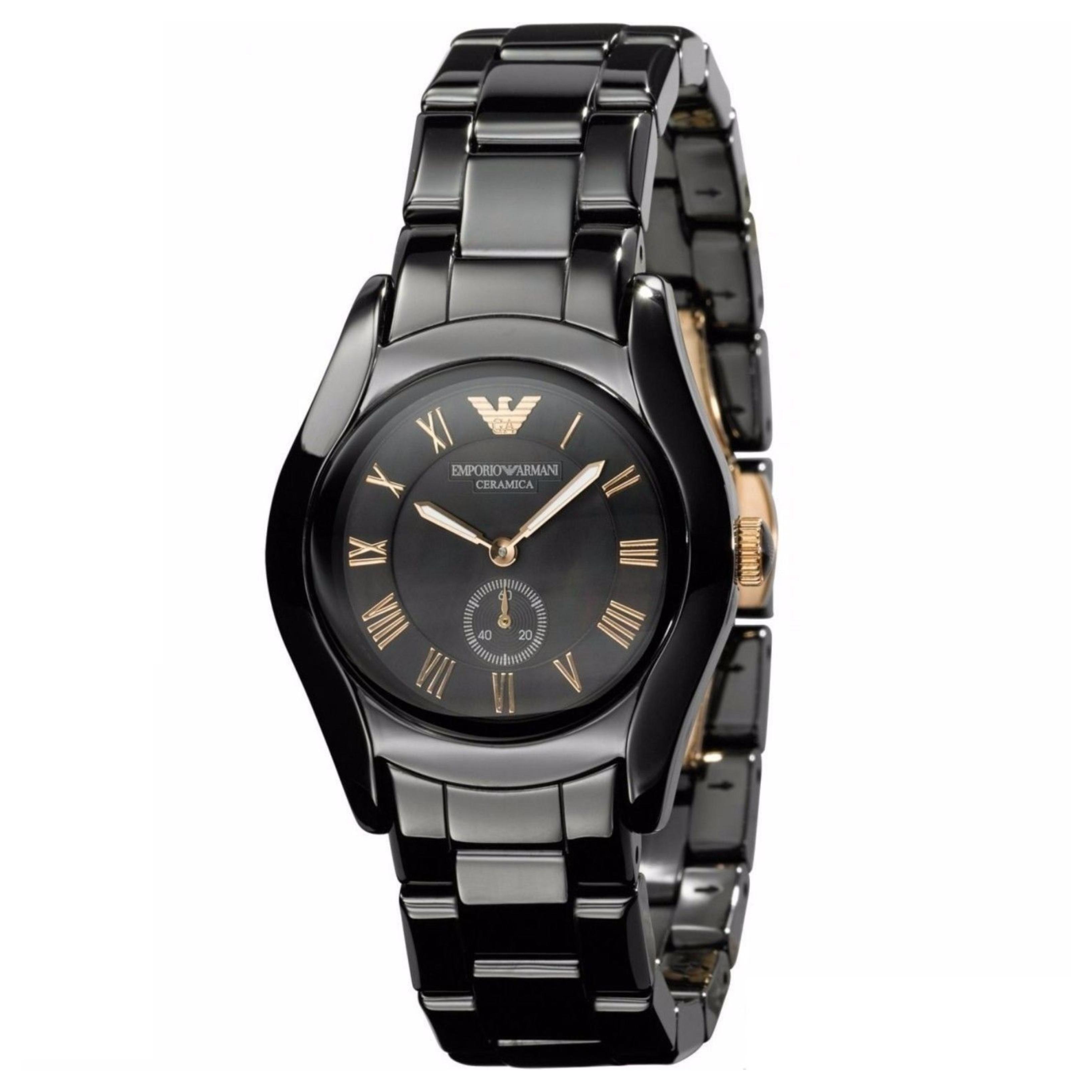 Emporio Armani Ceramic Slim Ladies Watch | Roman Numeral Black Dial & Strap | AR1412