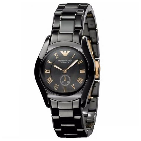 Emporio Armani Ceramic Slim Ladies Watch | Roman Numeral Black Dial & Strap | AR1412 Thumbnail 1