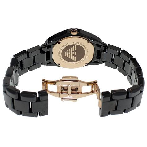 Emporio Armani Ceramic Slim Ladies Watch   Roman Numeral Black Dial & Strap   AR1412 Thumbnail 2