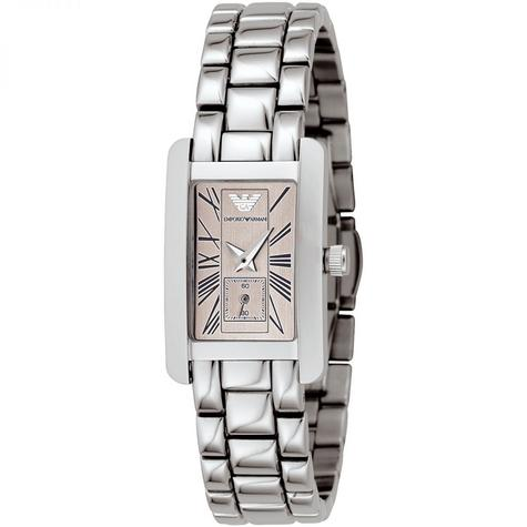 Emporio Armani Classic Ladies Watch | Chronograph Dial | Silver Bracelet Band | AR0172 Thumbnail 1