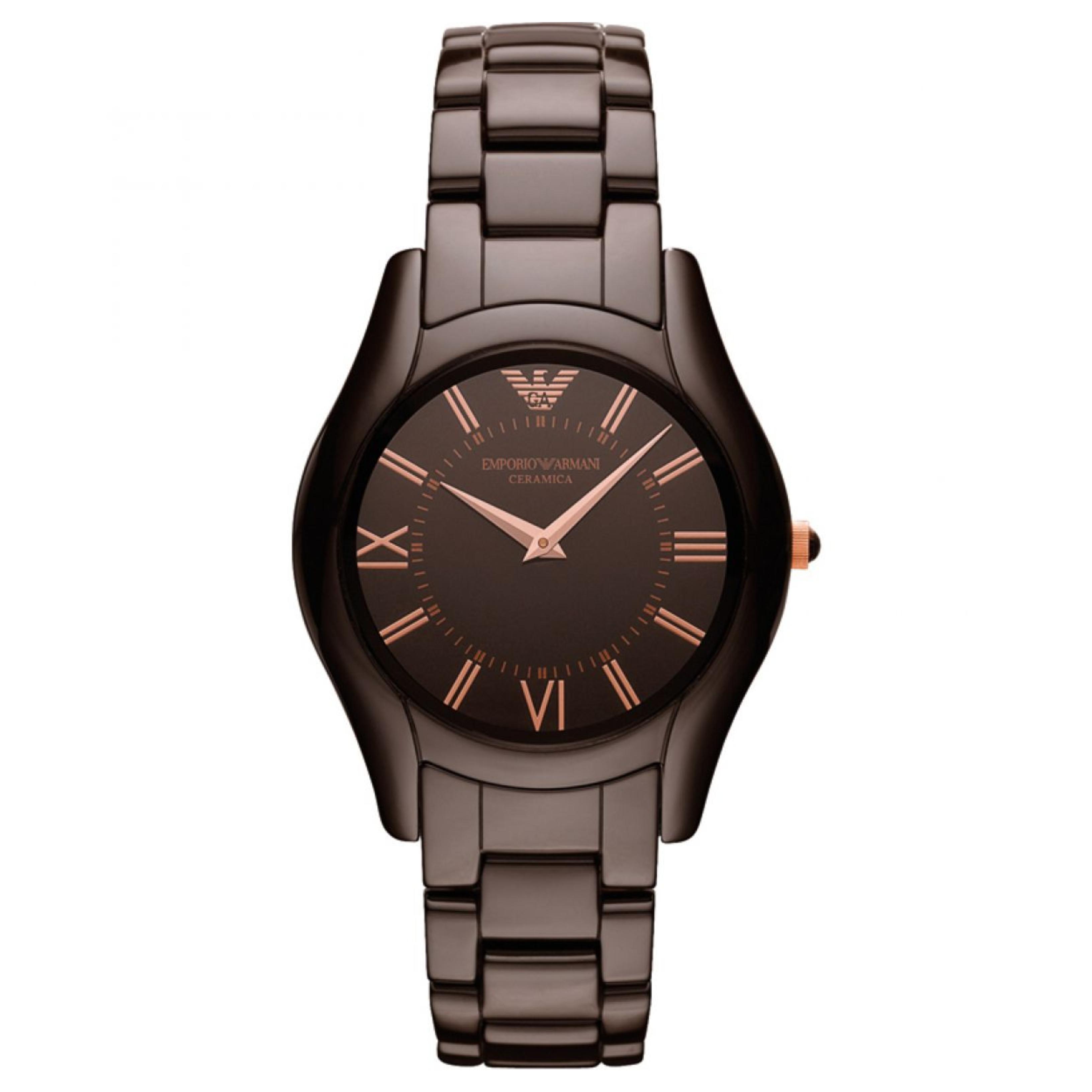 Emporio Armani Ceramica Ladies Watch | Roman Numeral Round Dial | Brown Strap | AR1445
