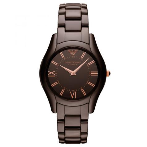 Emporio Armani Ceramica Ladies Watch | Roman Numeral Round Dial | Brown Strap | AR1445 Thumbnail 1