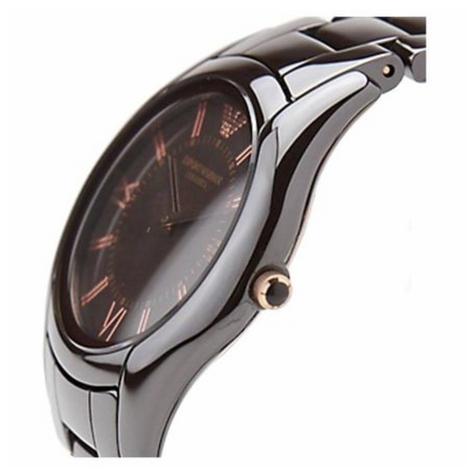 Emporio Armani Ceramica Ladies Watch | Roman Numeral Round Dial | Brown Strap | AR1445 Thumbnail 2