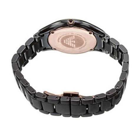 Emporio Armani Ceramica Ladies Watch | Roman Numeral Round Dial | Brown Strap | AR1445 Thumbnail 3