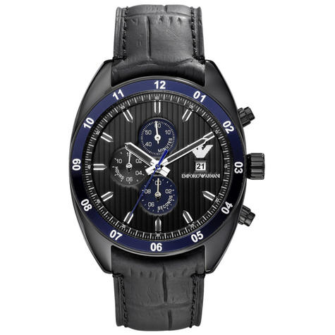 Emporio Armani Sportivo Men's Watch|Chrono Round Dial|Black Leather Strap|AR5916 Thumbnail 1