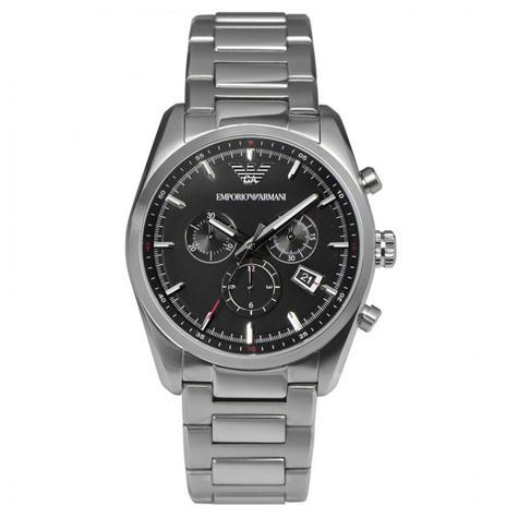 Emporio Armani Sportivo Men's Watch|Round Black Dial|Silver Bracelet Band|AR6050 Thumbnail 1