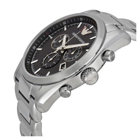Emporio Armani Sportivo Men's Watch|Round Black Dial|Silver Bracelet Band|AR6050 Thumbnail 2