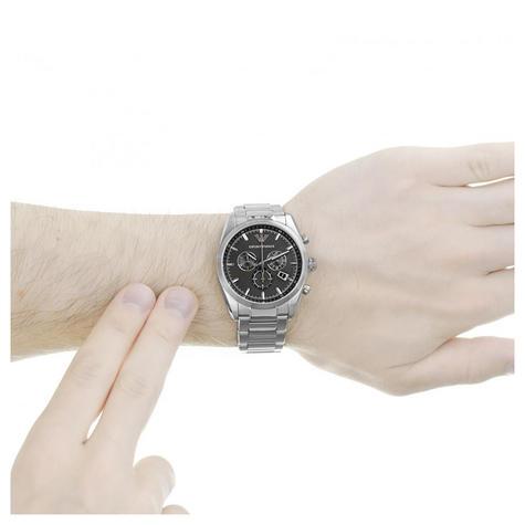 Emporio Armani Sportivo Men's Watch|Round Black Dial|Silver Bracelet Band|AR6050 Thumbnail 3