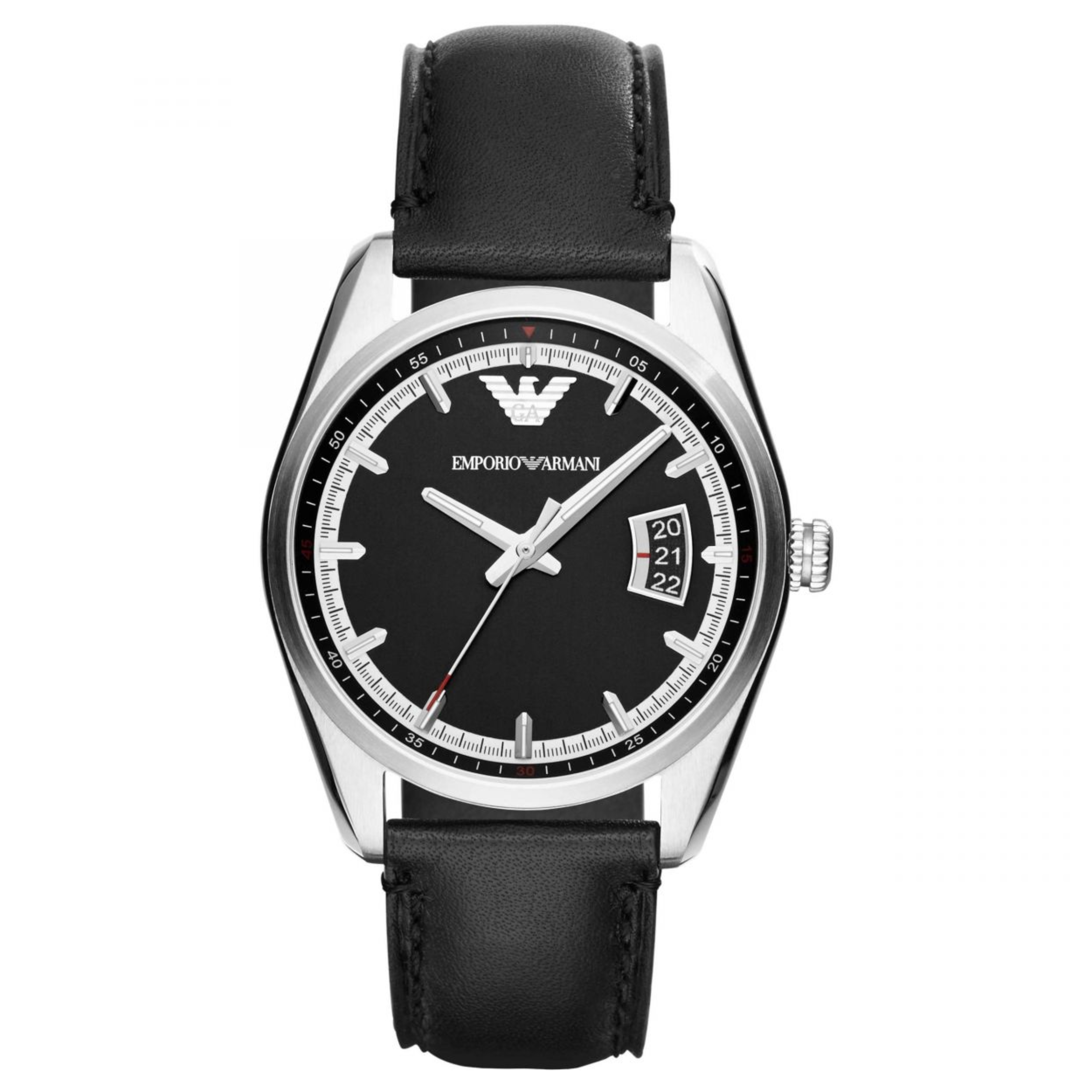 Emporio Armani Men's Watch|Silver Case Round Black Dial|Black Leather Strap|6014