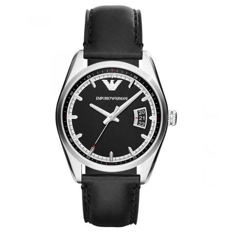 Emporio Armani Men's Watch|Silver Case Round Black Dial|Black Leather Strap|6014 Thumbnail 1