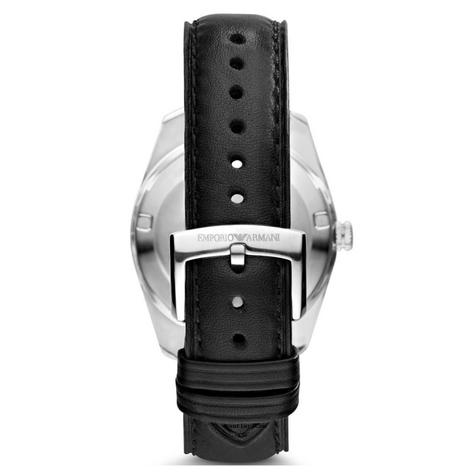 Emporio Armani Men's Watch|Silver Case Round Black Dial|Black Leather Strap|6014 Thumbnail 3