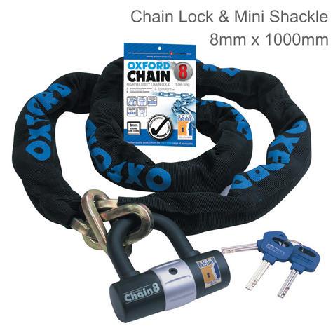 Oxford Chain 8 High Security Chain Lock & Mini Shackle - 1M | 8mm x 1000mm | LK140 Thumbnail 1