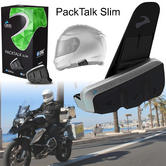 Cardo Scala Rider PackTalk Slim Bluetooth Headset | Motorcycle Helmet Intercom | DMC Technology