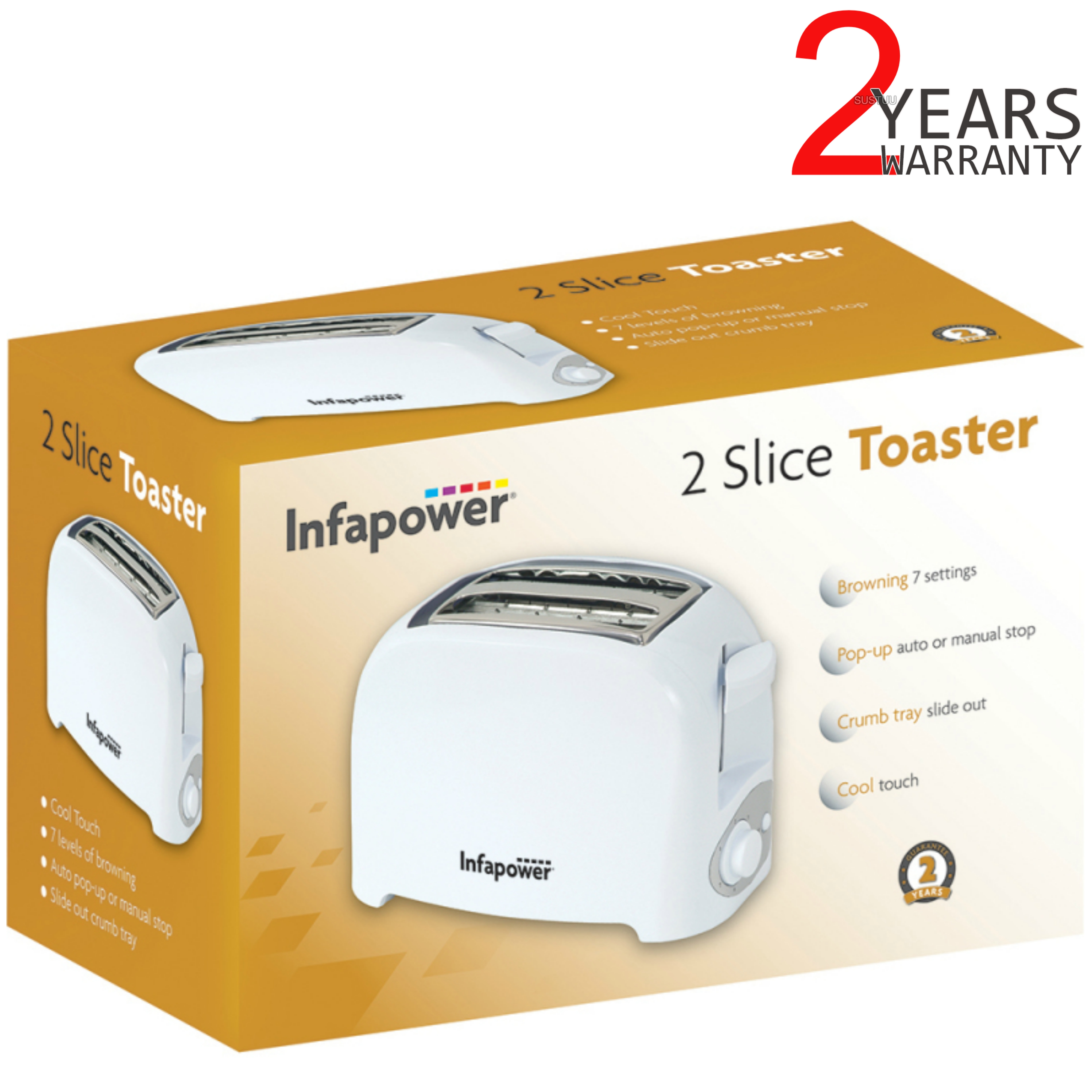 Infapower 2 Slice Toaster | Browning 7 Settings | Auto-Manual Stop | Crumb Tray | White