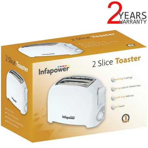 Infapower 2 Slice Toaster | Browning 7 Settings | Auto-Manual Stop | Crumb Tray | White Thumbnail 1