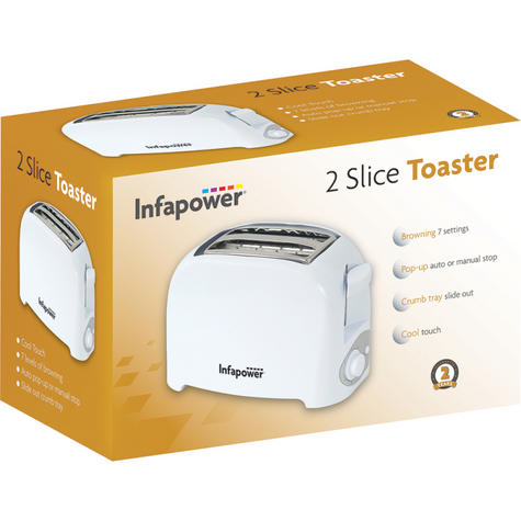 Infapower 2 Slice Toaster | Browning 7 Settings | Auto-Manual Stop | Crumb Tray | White Thumbnail 3