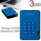 iStorage diskAshur2 512GB USB 3.1 Secure External Solid State Drive | Storage | Ocean Blue