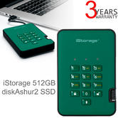 iStorage diskAshur2 512GB USB 3.1 Secure External Solid State Drive | Storage | Racing Green