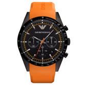 Emporio Armani Sportivo Men's Watch|Chronograph Dial|Orange Rubber Strap|AR5987