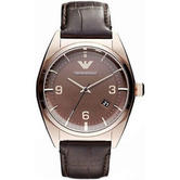 Emporio Armani Classic Men's Watch | Round Analog Dial | Brown Leather Strap | AR0367