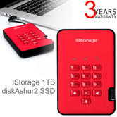 iStorage diskAshur2 1TB USB 3.1 Secure Portable External Solid State Drive | Storage | Fiery Red