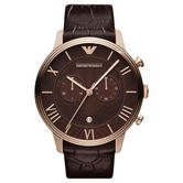 Emporio Armani Men's Watch|Chronograph Round Dial|Brown Leather Strap|AR1616