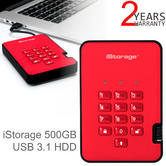 iStorage diskAshur2 500GB USB 3.1 Portable External Hard Drive | Encrypted | Fiery Red