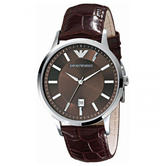 Emporio Armani Classic Men's Formal Watch|Brown Dial|Brown Leather Strap|AR2413