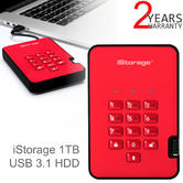 iStorage diskAshur2 1TB USB 3.1 Portable External Hard Drive | Encrypted | Fiery Red