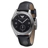 Emporio Armani Men's Formal Watch|Black Round Dial|Black Leather Strap|AR5898