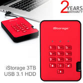 iStorage diskAshur2 3TB USB 3.1 Portable External Hard Drive | Encrypted | Fiery Red