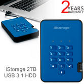 iStorage diskAshur2 256-bit 2TB Portable External Hard Drive | Storage | Ocean Blue