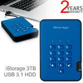iStorage diskAshur2 256-bit 3TB Portable External Hard Drive   Storage   Ocean Blue