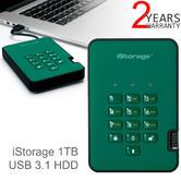 iStorage diskAshur2 256-bit 1TB Portable External Hard Drive   Storage   Racing Green