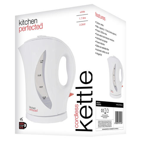 Lloytron KitchenPerfected 1.7Ltr Cordless Kettle | 2Kw | Dual Water level | E1521WH Thumbnail 2