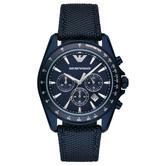 Emporio Armani Men's Watch|Blue Sunray Chronograph Dial|Blue Nylon Strap|AR6132