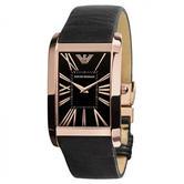 Emporio Armani Men's Wrist Watch Roman Numerals Dial Black Leather Strap AR2034