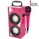 Lexibook iParty Mini Bluetooth Karaoke with Microphone | 4W RMS | LED Light | Pink | NEW