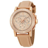 Burberry Unisex Watch Chronograph Rose Gold Dial Nude Cream Leather Strap BU9704