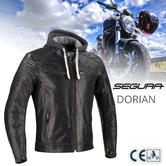 Segura Dorian Motorcycle/Bike Mens Summer Leather Jacket | CE Approved | Black | All Sizes