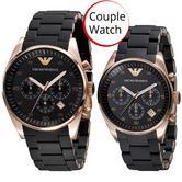 Emporio Armani Sportivo Chronograph Bracelet Strap Couple Watch AR5905 + AR5906
