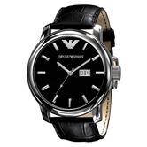 Emporio Armani Classic Men's Watch | Black Round Dial | Croco Leather Strap | AR0428