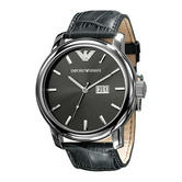 Emporio Armani Classic Men's Casual Watch | Grey Round Dial | Leather Strap | AR0430