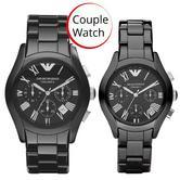 Emporio Armani Ceramica Black Dial Chronograph Couple Wrist Watch AR1400 + AR1401