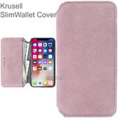 Krusell Broby 4 Card SlimWallet Case | Protective Flip Cover + Billpocket | For iPhone XS Max | Pink