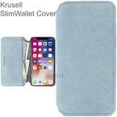 Krusell Broby 4 Card SlimWallet Case | Protective Flip Cover + Billpocket | For iPhone XS Max | Blue