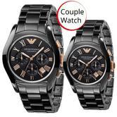 Emporio Armani Ceramica Black Dial Chronograph Couple Watch AR1410 + AR1411